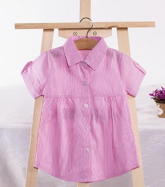 Новый 2016 летних девочек футболки девушка одежда девушка футболки полосатые хлопчатобумажные топы с отложным воротником тис конфеты 3 цветов