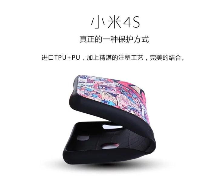 Mi 4s Cute Hello Kitty Cartoon Painting PU+TPU Soft Funda Coque Capa Skin Case for Xiaomi Mi 4s Mi4s Back Cover Accessories