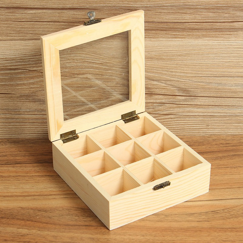 Wooden Tea Jewelry Accessories Storage Box Case High Quality Wooden Box For Shop Display Gift Tea Finishing Box 9 Compartments(China (Mainland))
