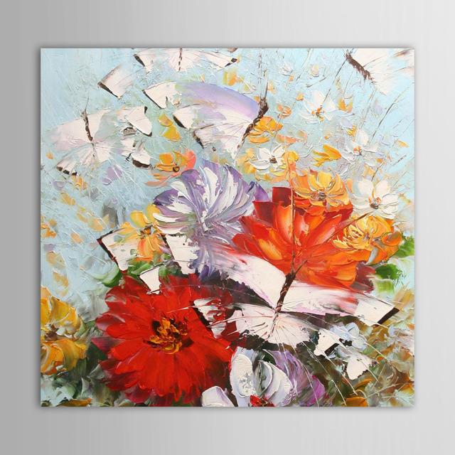 Peint la main peinture l 39 huile couteau floral peint for Materiel peinture a l huile