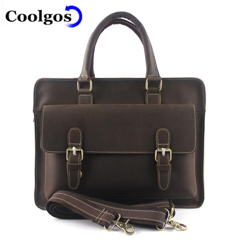 2016 Fashion Genuine Leather Briefcase Crazy Horse Leather Men Bag Business Bags Men Briefcases Leather Laptop Bag Portfoilo(China (Mainland))