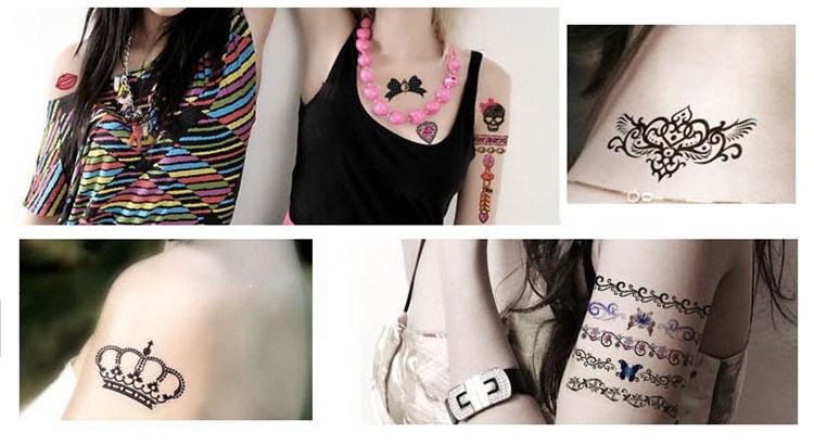 CH126 New Design Flash Tattoo Removable waterproof temporary tattoos Metallic Temporary Tattoo Stickers Temporary Body Art Tatoo