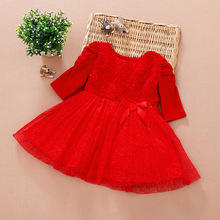 2015 Newborn Baby Girls Dresses Clothes Long And Short Sleeve Princess Red Party Dress Baby Ball Gown Kids Birthday Clothing(China (Mainland))