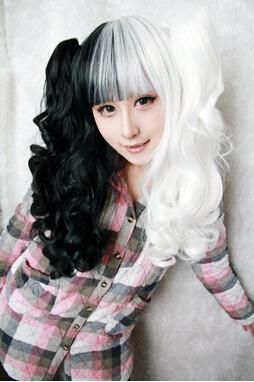 70cm/60cm Long White and Black pigtail Mixed Beautiful lolita Anime Wig kawaill lolita fashion wig Synthetic Hair Cosplay Wig(China (Mainland))