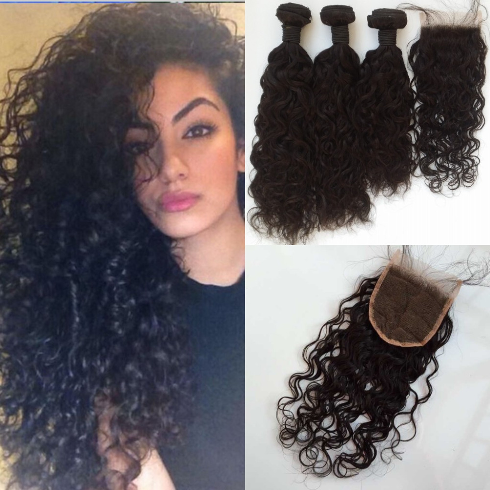 8A Brazilian virgin hair Water wave with 1bundle lace closure unprcessed Virgin Hair Weft 8-30 Cheap human hair<br><br>Aliexpress