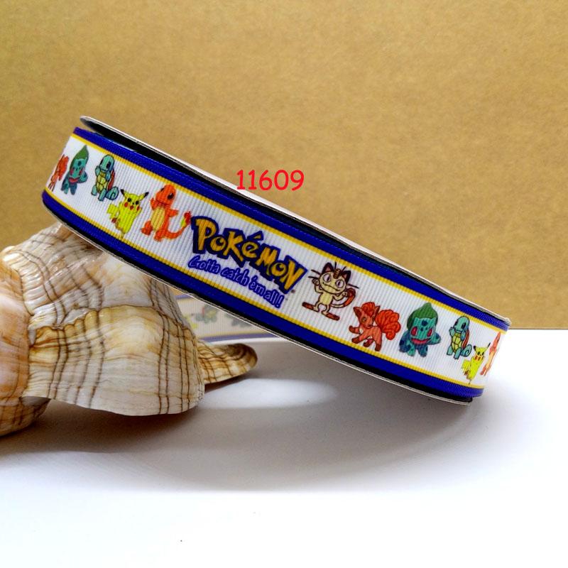 Free shipping 50 yard per sizepokemon printed grosgrain ribbon 11609(China (Mainland))