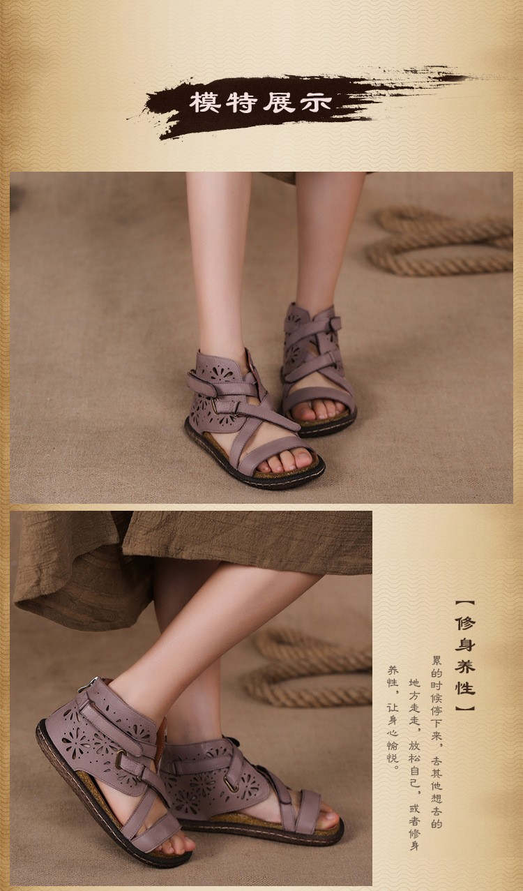 2016 new vintage handmade genuine leather women sandals personalized knitted open toe flat casual sandals women shoes
