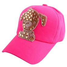 2016 hot wholesale discount boy girl children cute character snapback cap hat bling rhinestone dog colorful jean baseball caps(China (Mainland))