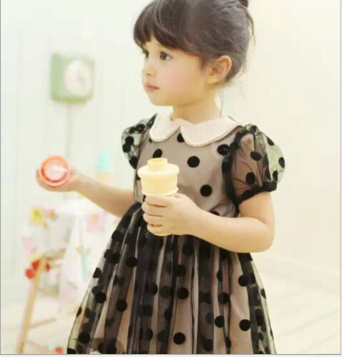2015 Kids Girls Polka Dots Tulle Dresses Baby Girl Summer Lace Pearl Collar Puff Sleeve TuTu Princess Dress Children's Clothing - Miss2010 store