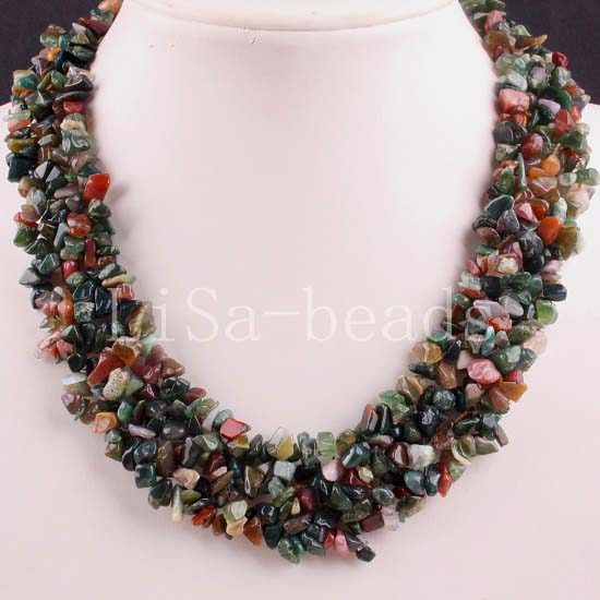 "Free Shipping Jewelry 4X8MM Chip Beads Nylon Line Weave India Agate Necklace 18"" 1Pcs E051(China (Mainland))"