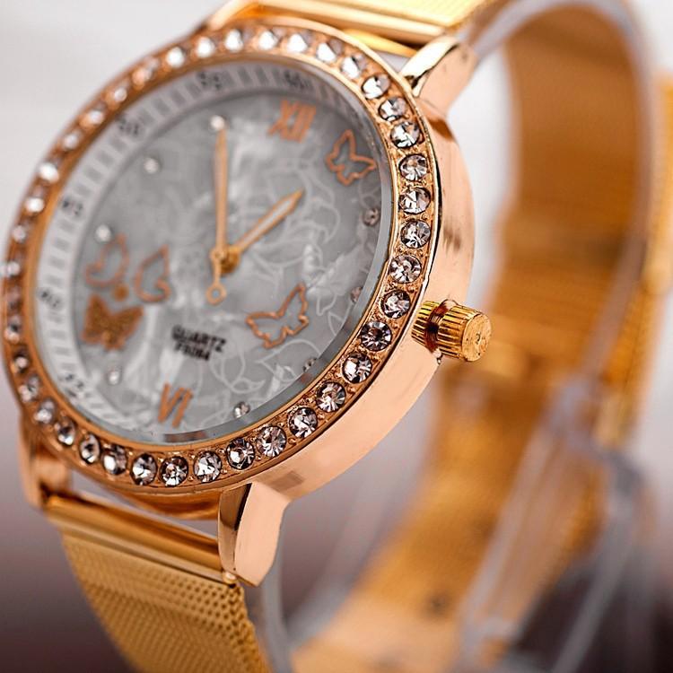 2014 Women Gold Watch Butterfly Watches Women Rhinestone Watches Casual Watch Women Dress Wristwatches relogios femininos<br><br>Aliexpress