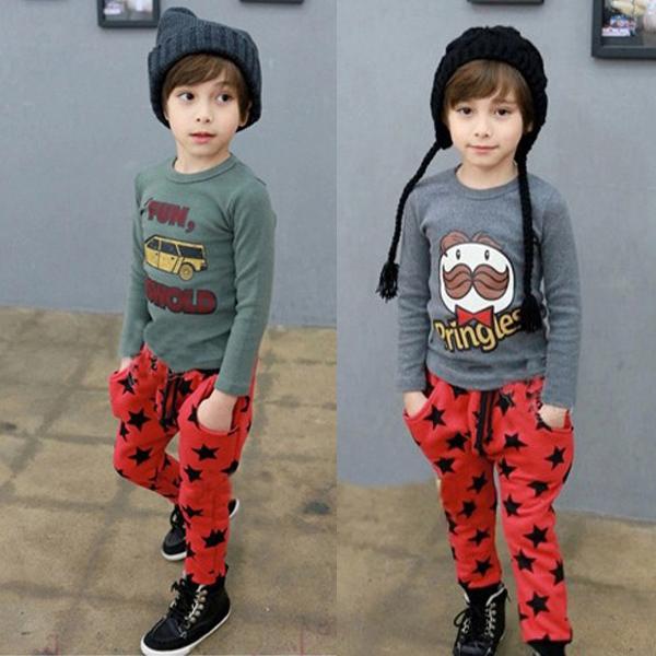 אופנה פעוטות בנים כותנה מכנסיים ארוכים כוכבים דפוס מכנסיים מזדמנים ישבנים חם