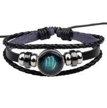 Многоуровневые кожаные веревочные браслеты Aries 12 для мужчин и женщин, подарки, Винтажные Ювелирные изделия pulseira(China)