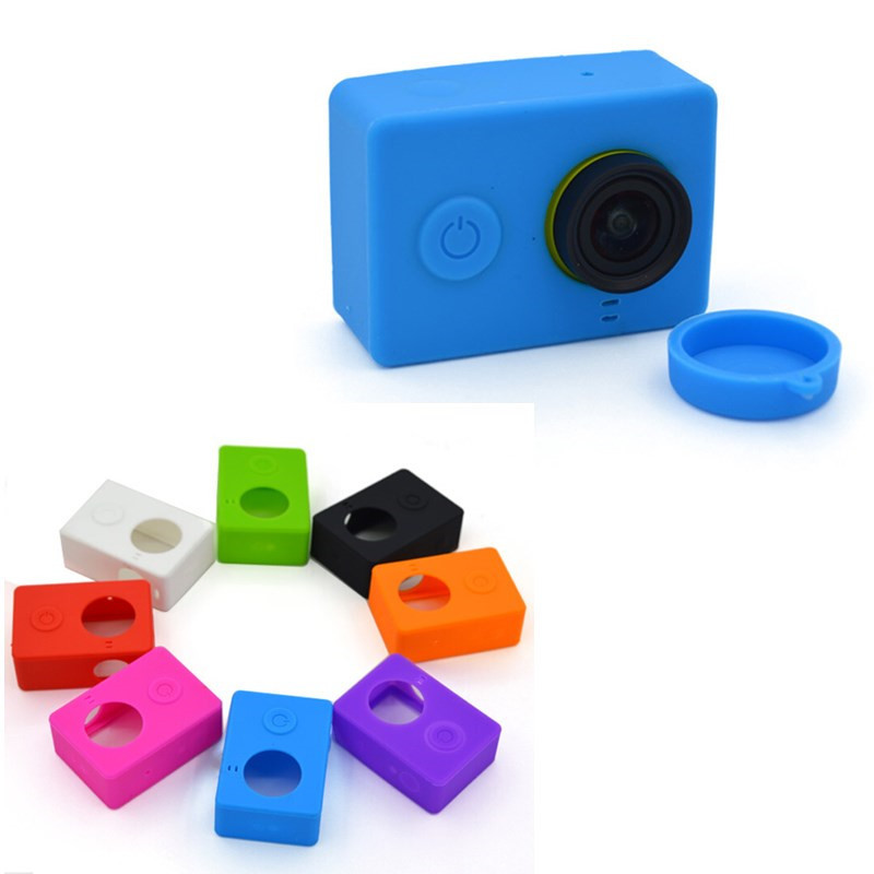 New Soft Silicone Protective Case+ Lens Cover For Xiaomi Yi Sport Action Camera Accessory Free Shipping(China (Mainland))