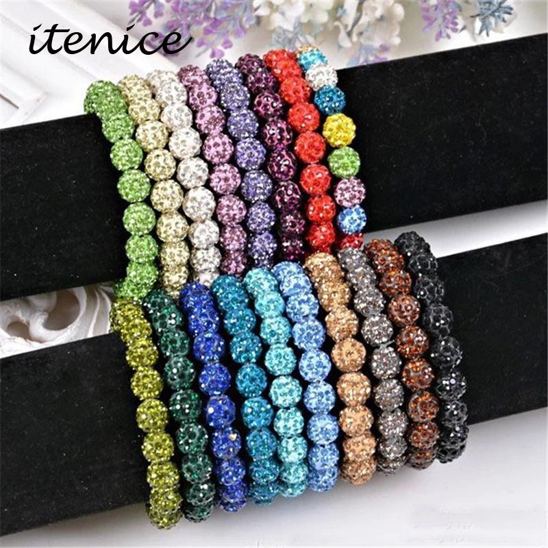 Fashion Jewelry Handmade Crystal Shamballa Bangles Strand Shambala Charm Stone Chain Beaded Bracelets For Women(China (Mainland))
