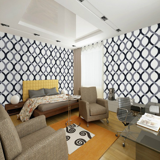 Swirl Geometric Wallpaper Modern Pvc Roll Background Wall For Living Room Wallcovering Black And White