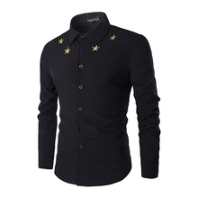 Embroidery Star Casual Men Shirt Long Sleeve Black White Solid Dress Slim Fit Male Shirts 2016 Fashion Brand Chemise Homme XXL(China (Mainland))