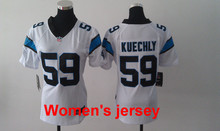 A+++ Women ladies all stitched Carolina Panthers ladies 1 Cam Newton 59 Luke Kuechly Embroidery Logos size S to XXL(China (Mainland))