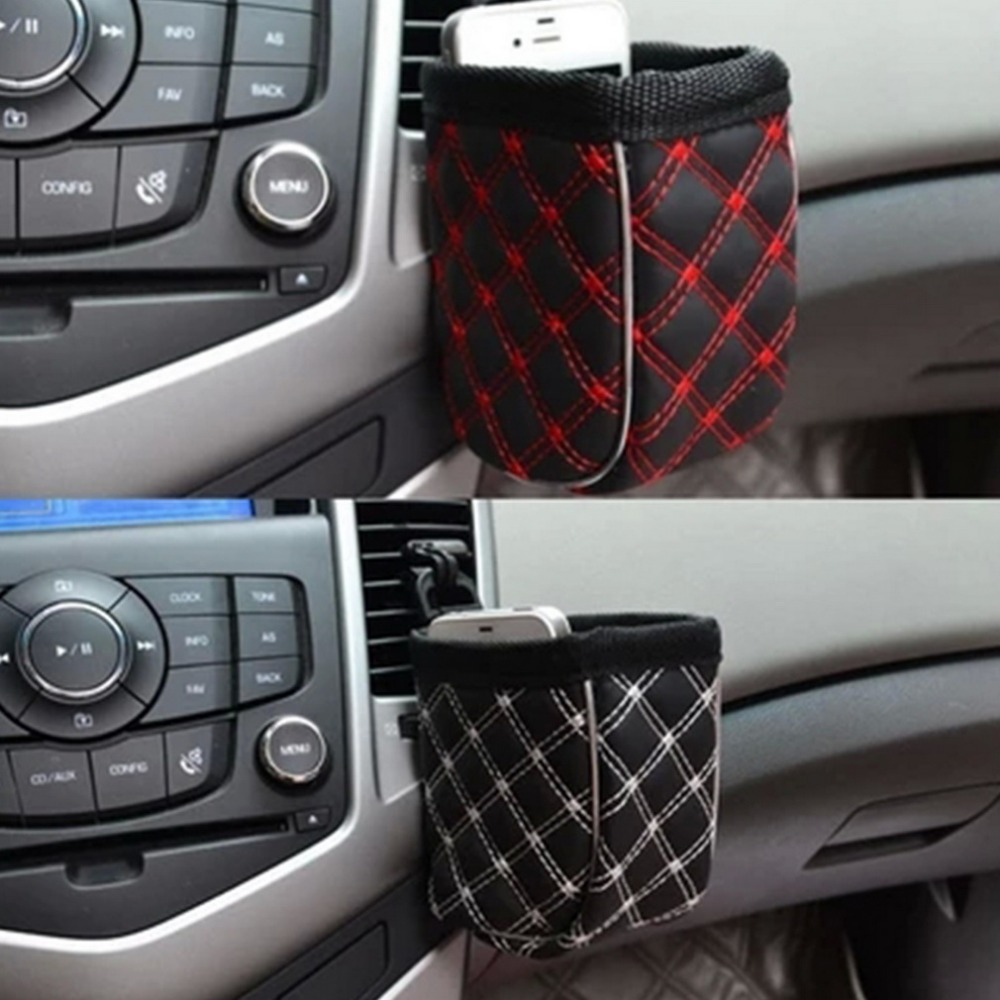 Hot Mini Car Tuyere Grocery Bags organizer Car Bag Cell Phone Pocket Car Pouch Glove Black-Red Car Storage Outlet Free Shipping&(China (Mainland))