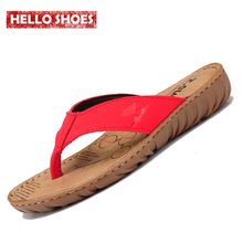 Women's Wedges Flip Flops Ladies Beach Shoes Cowhide Slippers Cow Muscle Outsole Summer 2015 Sandals For Women Size:35-39 Red