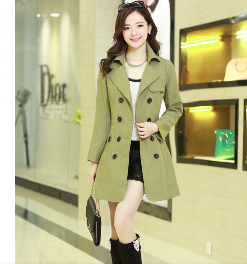 Plus size fashion quality slim elegant female medium-long trench overcoat outerwear - bingwen chen's store