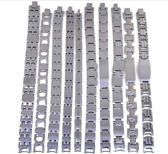 Wholesale Lots 5pcs Mix Men Silver Stainless Steel Link Bracelets Cuff Wristband