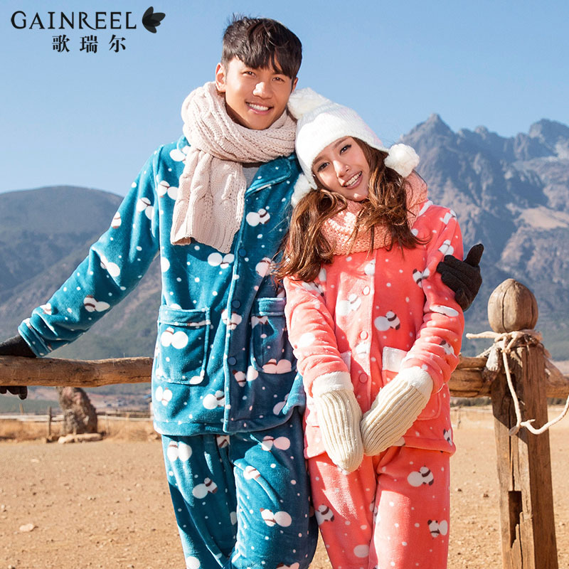 Song Riel autumn and winter flannel pajamas cartoon couple of men and women suit tracksuit lovely