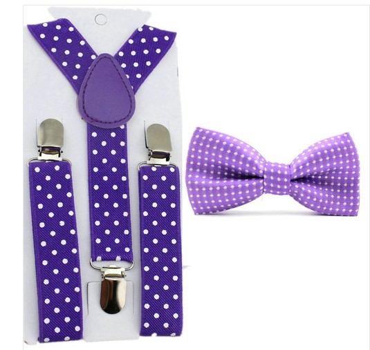 Baby Toddler Kids Children Boys Girls Polka Dot Bow Tie & Suspender Set