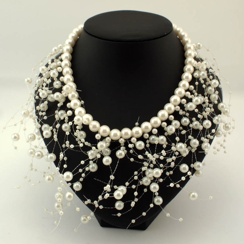 Fashion Exaggerated Pearls Beads Choker Collar Statement ...