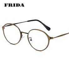 FRIDA Fashion Eyewear Metal Mens Glasses Frame Clear Lens Glasses Vintage Round Eyeglasses Nerd Glasses Womens Lunette de vue