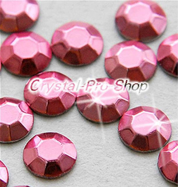 1440 pieces Light Pink 3mm 10ss ss10 Faceted Hotfix Rhinestuds Iron On Round Beads Aluminium Metal Art (u3m-Lt Pink-10 gr)
