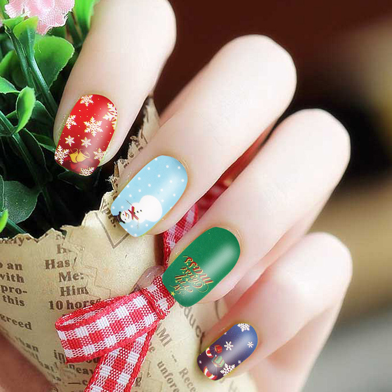 3 Sheets Fashion Best Price Colorful 3D Sparkle Christmas Nail Art Stickers DIY Decoration Free Shipping(China (Mainland))