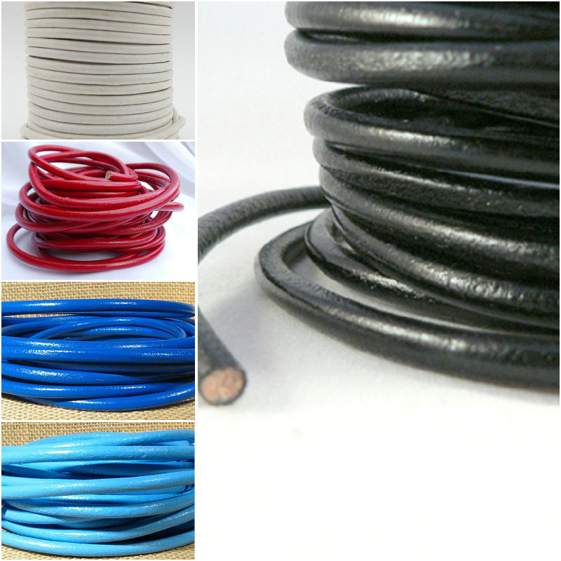 Real Leather Cord Bracelet Necklace Beading Jewelry 5mm Round Craft String Strip(China (Mainland))