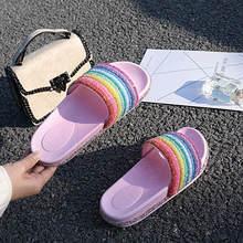 Женские шлёпанцы для женщин розовый направляющие Fenty веревка алмаз горный хрусталь scarpe donna снаружи Радуга летние женские яркие zapatos mujer 2019(China)
