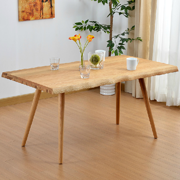 White oak solid wood dining table modern simple nordic for Modern oak dining table