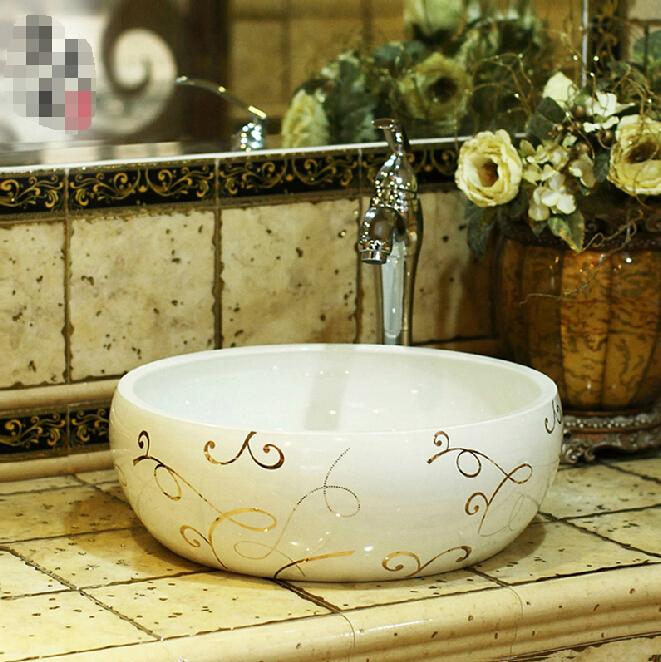 Bathroom basin ceramic basin round table of European minimalist fashion art basin bathroom basin 379<br>