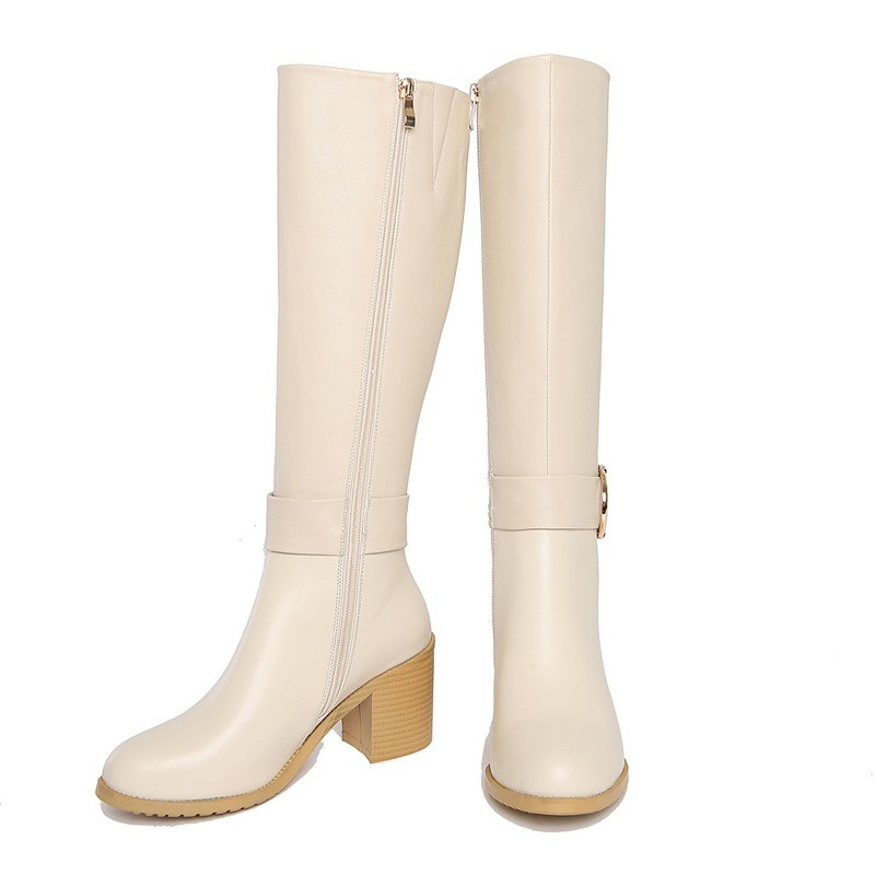 ซื้อ ALLBITEFOแฟชั่นขนาดใหญ่ขนาดleahterแท้+ PUส้นหนาหัวเข็มขัดฤดูหนาวรองเท้าหิมะแพลตฟอร์มผู้หญิงเข่าสูงบู๊ทส์ผู้หญิงรองเท้า