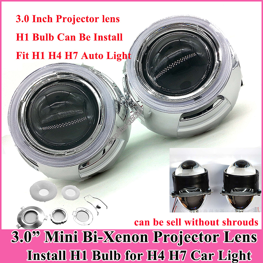 2pcs 3.0'' HID Bi Xenon projector lens 12V 35W Parking automobiles Headlight len H1 bulb car model H4 H7 High qulity projector(China (Mainland))