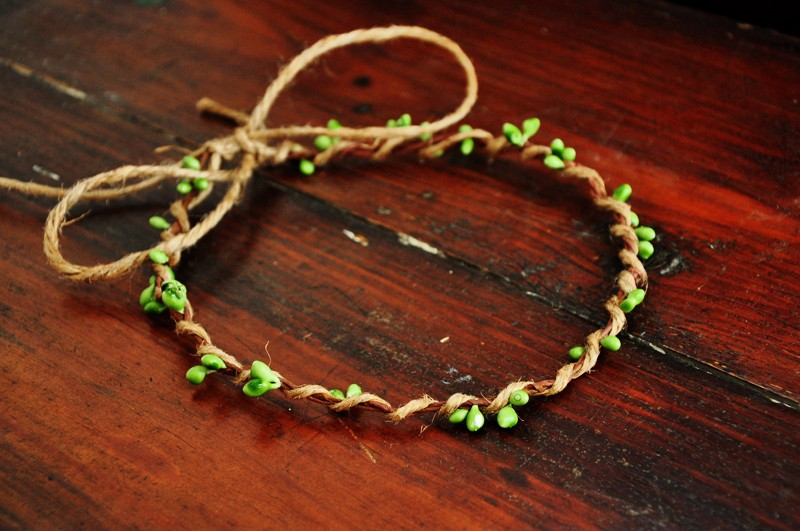 10 Pcs Handmade Rustic Dainty Green Pip Berries Twine Wreath Flower