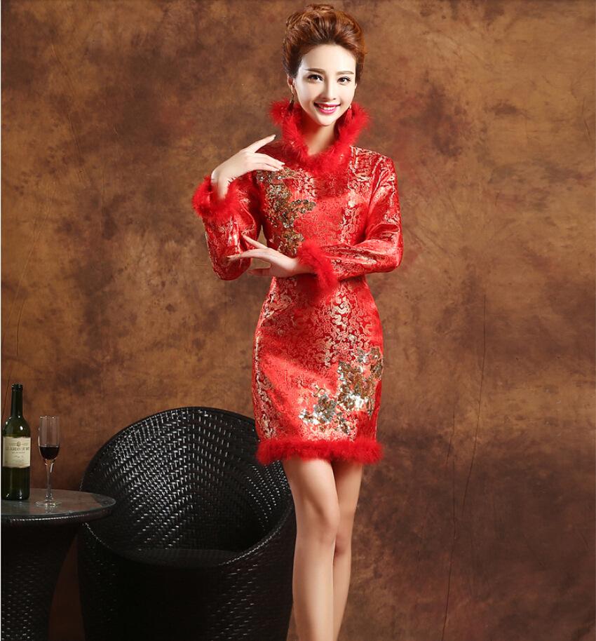 Wholesale 2015 Winter Cheongsam Red Bride Wedding Qipao Long Sleeve Add Cotton Qi Pao Chinese Traditional Dress QP004(China (Mainland))