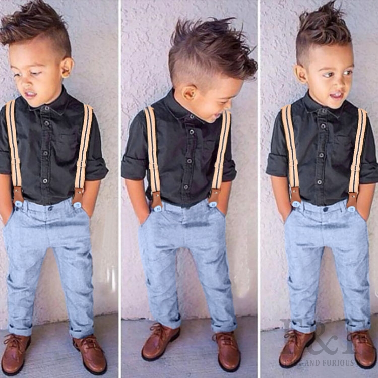 2015 new baby kids overall outwear set black shirt jean for Dark denim toddler shirt