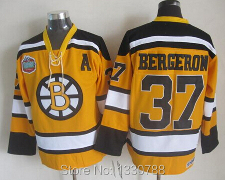 2010 Vintage Throwback PATRICE BERGERON Winter Classic Hockey Jersey Yellow All Stitched #37 Boston Bruins Jerseys