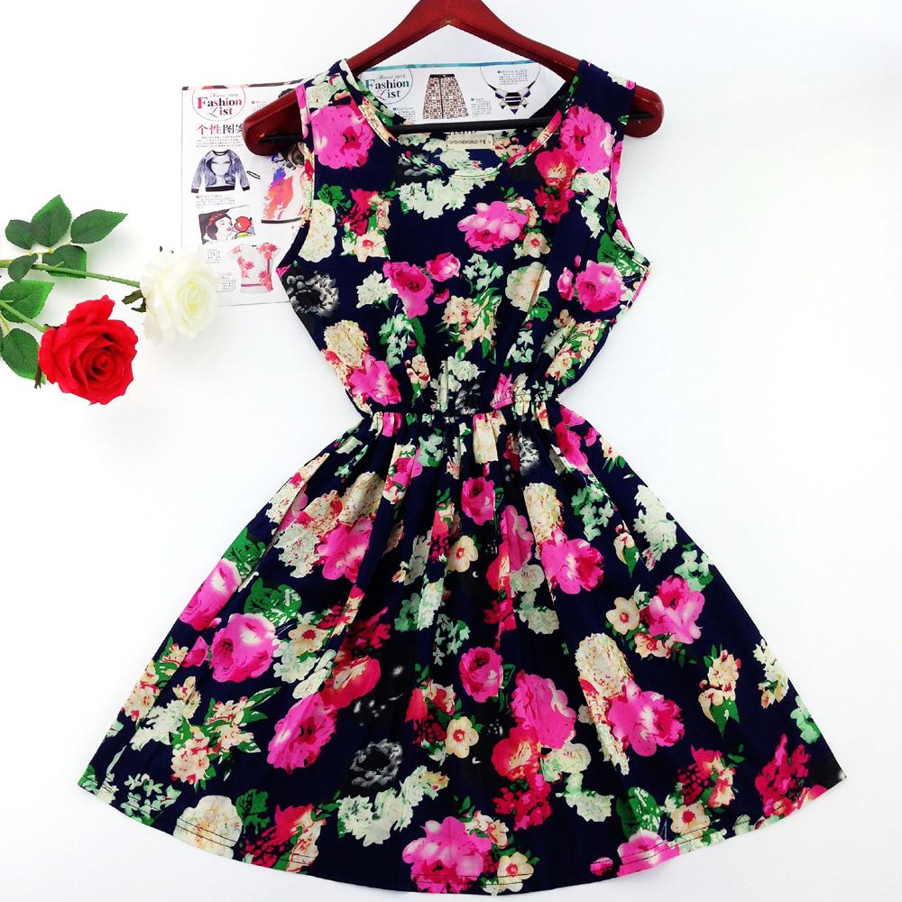 2016 Plus Size Women's Clothing Lace Chiffon printed dress Casual vestidos Women Dress summer fashion Dresses WC0375-1(China (Mainland))