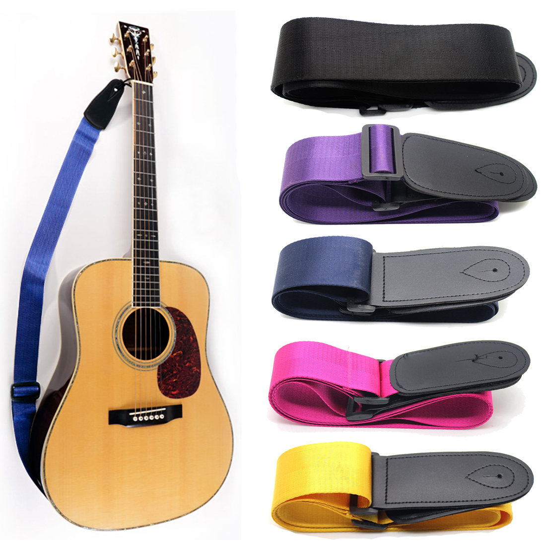 Musical Instrument Accessories For Folk Electric Acoustic Guitar Adjustable Guitar Chemical Strap Leather Ends Free Shipping(China (Mainland))