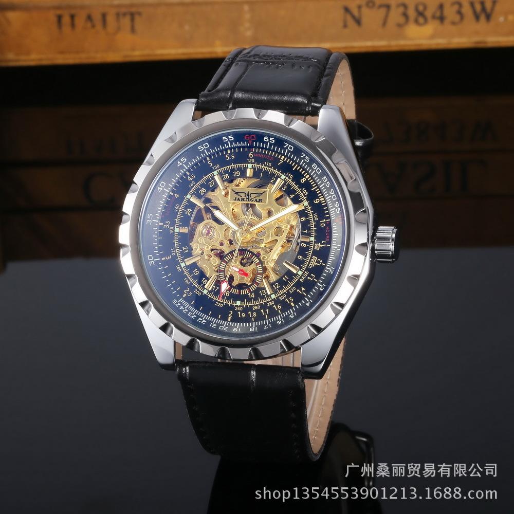 Brand Jaragar Luxury Fashion Leather Men Automatic Mechanical Self Wind Skeleton Watch Photochromic Glass watch New Year gifts<br><br>Aliexpress