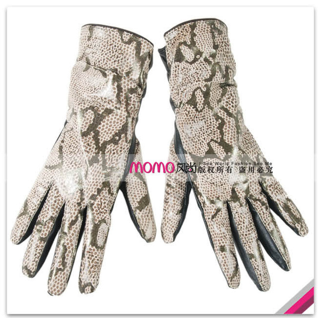Limited edition women's 27cm medium-long crocodile genuine leather gloves serpentine pattern print sheepskin gloves
