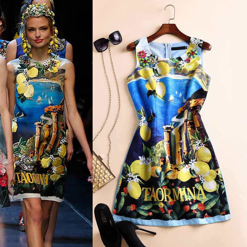 2016 spring and summer women's fashion print beading sleeveless   dress summer women dress clothes maxi dress party dresses