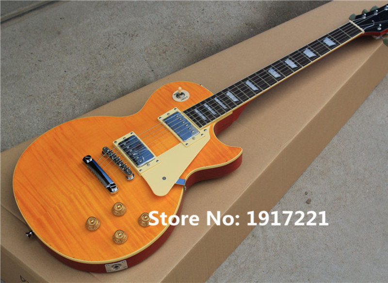 LP Electric Guitar with Light Orange Body,22 Frets,2 LP Pickup,Mahogany Neck,White Pickguard,Flame Maple Veneer,Can be Changed(China (Mainland))