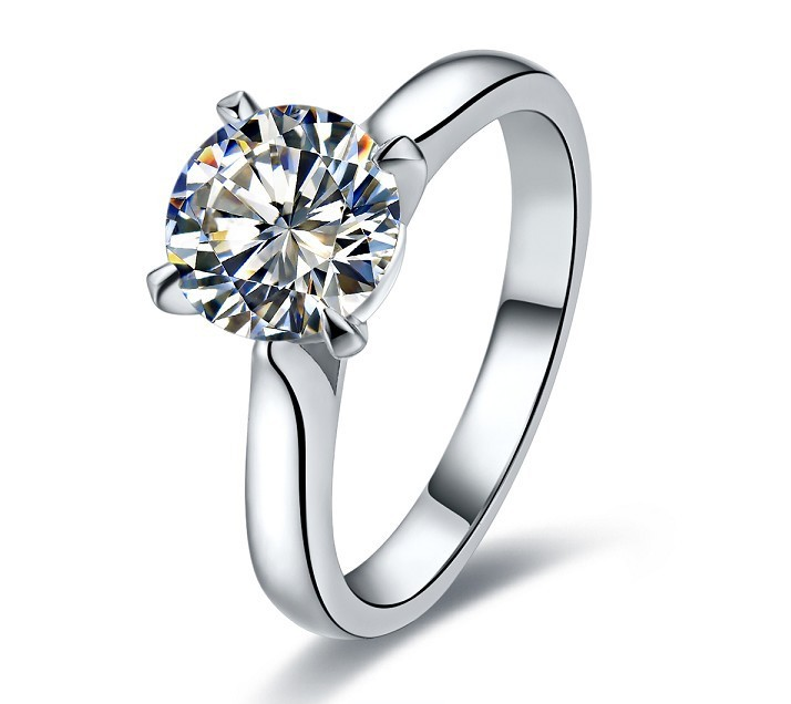 OEM Customized 1:1 Brand Quality 1CT SONA Synthetic Diamond Ring for Anniversary Jewelry Women 14K Wedding Ring Prongs Classical(China (Mainland))