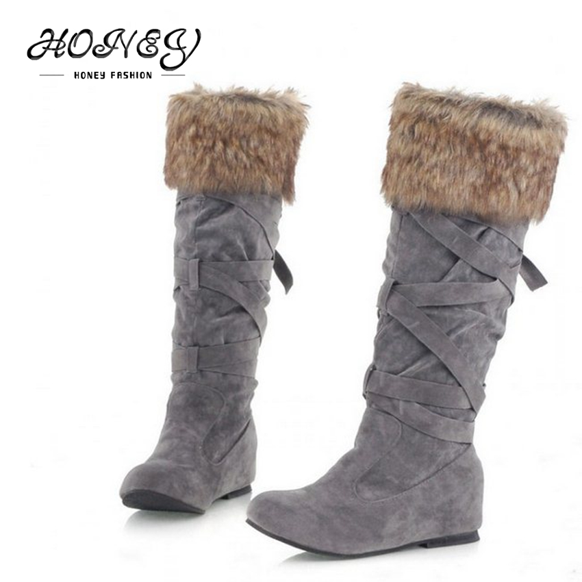 New arrival 2015 knee high boots strap women winter boots with fur high leg Ladies snow boots(China (Mainland))